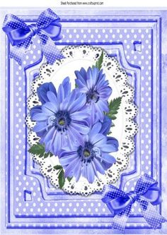 Pretty cornflower blue flowers on lace with bows A4 on Craftsuprint - Add To Basket!