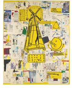 Artwork by Jean Michel Basquiat, QUIJ, Made of acrylic, silkscreen and xerox collage on canvas Jean Basquiat, Jean Michel Basquiat Art, Robert Rauschenberg, Sgraffito, Pablo Picasso, Andy Warhol, Keith Haring, Land Art, Basquiat Paintings