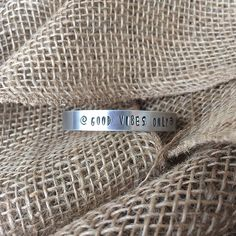 """Good Vibes Only"" Hand-Stamped Inspirational Bracelet Cuff Metal Bracelets, Metal Jewelry, Cuff Bracelets, Hand Stamped Metal, Best Inspirational Quotes, Good Vibes Only, Metal Stamping, Positive Quotes, Tips"