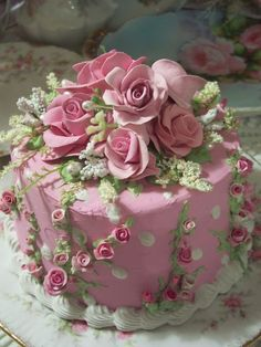 (cakefjp) SHABBY COTTAGE PINK ROSE DECORATED FAKE CAKE CHARMING!!