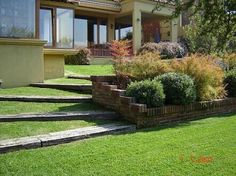 Possibility for front yard slope instead of running gravel all the way down? Landscape Stairs, Garden Landscape Design, Garden Stairs, Terrace Garden, Sloped Yard, Outdoor Steps, Hillside Landscaping, Back Gardens, Garden Inspiration