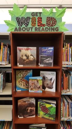 Literary Hoots: Wild About Reading Library DisplayYou can find Library displays and more on our website.Literary Hoots: Wild About Reading Library Display School Library Displays, Library Themes, Library Activities, Library Ideas, School Library Decor, Library Decorations, School Libraries, Public Libraries, Reading Display