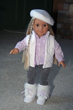 Ready for a fun snow day.  Junebug boots, beret, quilt vest, grey corduroys and long sleeve shirt.  SOLD