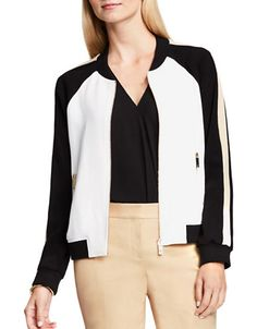 Vince Camuto Colorblocked Bomber Jacket Women's New Ivory X-Large