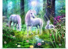 Jan Patrik Krasny Poster Print Wall Art Print entitled Forest Unicorn Family, None