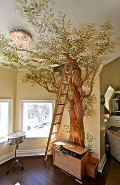 Paint a Large Tree Mural Arbre mural et escalier escamotable