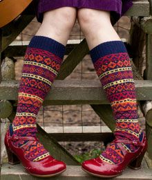 If only life was long enough for beautiful sock knitting! Kirkwall by Mary Jane Mucklestone Fair Isle Knitting, Knitting Socks, Hand Knitting, Knitting Patterns, Knit Socks, Start Knitting, Knitting Machine, Red Shoes, Sock Shoes