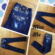 ❤️DEAL OF THE DAY❤️Miss Me 28/31 jeans dark denim just in miss me skinny fit dark denim 28/31 with brown and beige sticking on back pockets for fall and winter with boots will look great  Miss Me Jeans Skinny