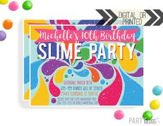 Slime Birthday Party Invitation This invitation is available both as a digital (YOU print) file -or- printed and shipped by us. Please see the options in the drop down menu for pricing.  Our printed invitations are 5x7 inches, professionally printed on 110# card-stock and come with white envelopes.  Please include invitation details in the notes to seller at checkout.  You will receive a proof within 24 hours of us receiving all of your invitation details.  If you would like matching party…