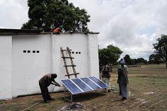 Installing a solar panel.