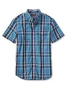 Soft-Wash Blue Check Button-Down Short-Sleeve Shirt   Banana Republic