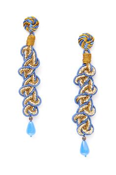 Blue China silk with jute...handwoven into the Treccia earrings.