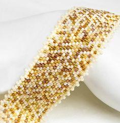 Au Natural Peyote Bracelet Peyote Cuff Ivory by PixieDustFineries, $118.00