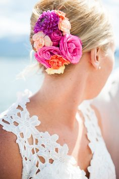 Magenta, Summer Flowers Wedding Hair | René Tate Photography