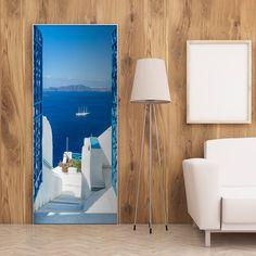 Photo wallpaper on the door - Holidays in Greece - Wallpaper Murals UK 3d Wallpaper Mural, Photo Wallpaper, Usa Holidays, Greece Holiday, Room Doors, Montage, Vivid Colors, Microsoft, Digital Prints