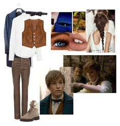 """Newt Scamander inspired look"" by queen-lupa ❤ liked on Polyvore featuring Banana Republic, Per Una, Sea, New York, Dsquared2, Fendi, Moncler and Charlotte Tilbury"