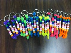 EET (Expanding Expression Tool) Student Keychains! Pipe Cleaner + Keychain + Pony Beads + Sharpie. (Green: Group, Blue: Do, What Does It Look Like?, What is it Made of? Pink: Parts, White: Where?, What else do you know?)