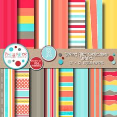 Spring Fling Stripes - bright and happy papers for scrapbooking, card making, paper crafts, invitations and more!