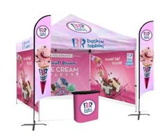 A single person can setup or collapse the this tent. Logo printed tents are the ideal trade show solution for indoor and outdoor promotional events during any time of the year. We of three different size of Custom printed tents- x x and x 10x10 Canopy Tent, Pop Up Canopy Tent, Camping Needs, Tent Camping, Custom Canopy, Baskin Robbins, Promotional Events, Outdoor Events, Trade Show