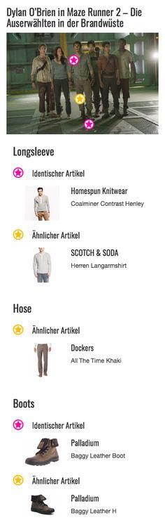 Auch das Longsleeve von Homespun Knitwear, das Anführer Thomas (Dylan O'Brien) trägt, hat sicherlich schon bessere Tage gesehen. Trotz der starken Beanspruchung hält das Kleidungsstück im Henley-Style seine Passform noch immer tadellos. Und mal ganz nebenbei steht dem jungen Schauspieler der Used-Look auch noch verdammt gut. Dass die eigentlich weiße Knopfleiste die graue Farbe des Shirts angenommen hat, stört da wenig. Der feine und dennoch widerstandsfähige Webstoff ist allerdings…