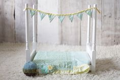 Newborn Baby Photography Prop Wooden Bed Set Includes bedding and banner