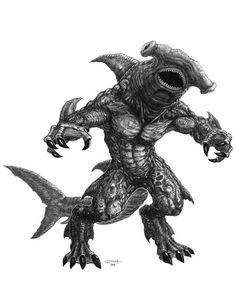 Sharkman hammerhead - by Ricky Hunter Cool Monsters, Sea Monsters, Fantasy Monster, Monster Art, Magical Creatures, Fantasy Creatures, Fantasy Dragon, Fantasy Art, Creature Picture