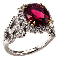 Garrard Red Spinel Diamond Platinum Solitaire Ring | From a unique collection of vintage more rings at https://www.1stdibs.com/jewelry/rings/more-rings/