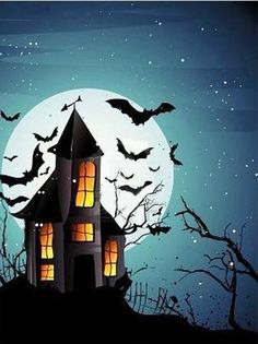 This Is Why Painting A Halloween Scene Is So Famous! Painting A Halloween Scene Retro Halloween, Halloween Designs, Spooky Halloween, Deco Porte Halloween, Halloween Rocks, Halloween Scene, Theme Halloween, Halloween Drawings, Halloween Painting