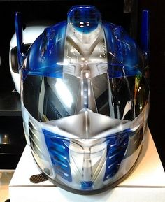 CUSTOM AIRBRUSHED OPTIMUS PRIME TRANSFORMER 3D MOTORCYCLE HELMET BY REK