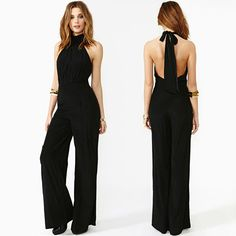 2014 Fashion New Woman Jumpsuits backless halter-neck high waist wide leg pants trousers romper overalls for women Black XS~XXL Overall, Jumpsuits For Women, Ideias Fashion, Chiffon, Skinny, Clothes For Women, Stylish, Dresses, High Waist