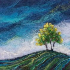 Needle Felting Kits, Wet Felting, Landscape Art Quilts, Landscape Paintings, Fuzzy Felt, Felt Wall Hanging, Felt Pictures, Textile Fiber Art, Wool Art