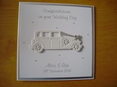 sweet dixie vintage car die for a quick simple wedding card Simple Wedding Cards, Wedding Cards Handmade, Simple Weddings, Handmade Cards, Congratulations On Your Wedding Day, Wedding Blog, Wedding Cars, Cool Cards, Vintage Cars
