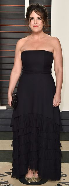 Stylish: Monica Lewinsky wore a fringed strapless gown, while actress Patricia Clarkson wo...