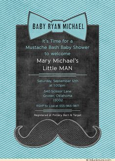 Teal Striped Bow Tie Boy Mustache Bash Invitation