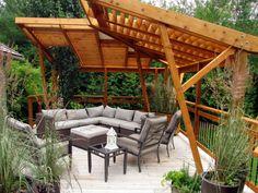 contemporary cantilever pergola wood