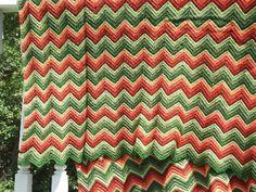 vintage ripple crochet afghan, retro striped shades of green