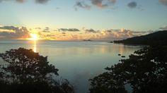 Seychellerna. Solnedgång på Praslin.