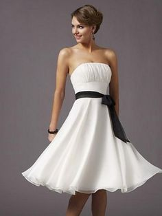 Cheap Elegant New Style Strapless empire waist Design Tea Length bridesmaid/ Cocktail Prom Dress