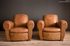 French Club Chairs by William's Antiks | WA26-34 Degaulle Giant Lounge Pair of Leather French Club Chairs | 1
