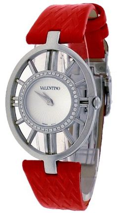 Valentino Vanity Stainless Steel & Diamond Womens Watch Red Leather Band V42SBQ-9102-S800 (bestseller)