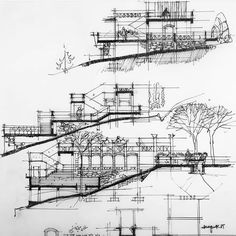 By @architectdrw #arch_more Architecture Student, Architecture Drawings, Architectural Trees, Architectural Sketches, Building Sketch, Graphic Illustration, Instagram, Floor Plans, Around The Worlds