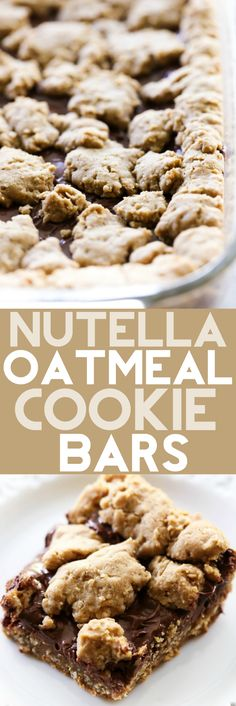 These Nutella Oatmeal Cookie Bars are chewy, gooey and absolutely amazing! They are a perfect easy dessert that is a hit with all who try it! The oatmeal cookie base and topping pair perfectly with the Nutella layer.