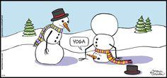 Humor In Dites & Fitness Yoga. - 'Half Full' by Maria Scrivan; Funny Snowman, Types Of Humor, Morning Yoga, Yoga Quotes, Have A Laugh, Christmas Humor, Christmas Cards, Merry Christmas, Yoga For Beginners