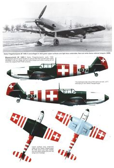 Other Air Force users, captured aircraft, Avia and Hispano Ww2 Aircraft, Fighter Aircraft, Military Aircraft, Fighter Jets, Luftwaffe, Me 109, Swiss Air, Focke Wulf, Aircraft Painting