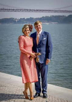 Queen Maxima and King Willem-Alexandre looked in great spirits as they posed for pictures...