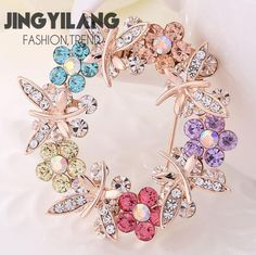 Colorful dragonfly wreath brooch