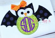 Owl Bat Applique - 3 Sizes! | Font Frames | Machine Embroidery Designs | SWAKembroidery.com The Itch 2 Stitch