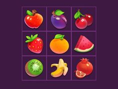 fruit icons designed by Jovana Damcevska. Connect with them on Dribbble; the global community for designers and creative professionals. Fruit Icons, Food Icons, Game Logo, Game Ui, Ocean Illustration, Bubble Games, 2d Game Art, Apple Icon, Cute Food Art