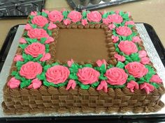 Basket with Pink Roses Cake