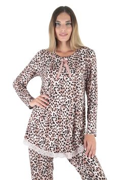 Claire Katrania Homewear Βισκόζης Pink Leopard